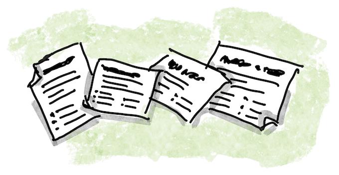Viele kleine Zettel mit Notizen